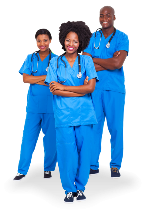 Group of african american hospital workers
